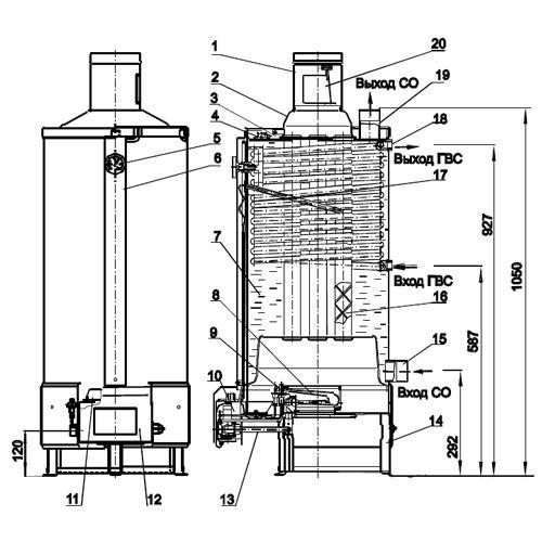 устройство газового котла - Схемы.