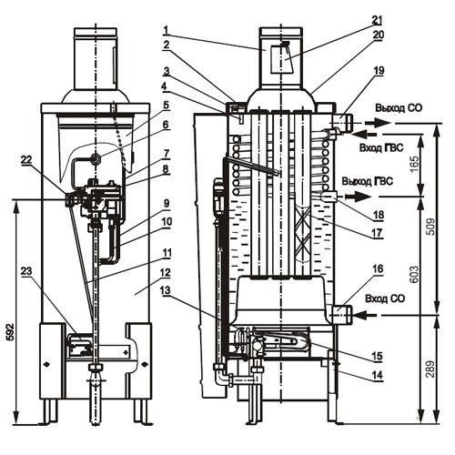 Газовый напольный котел Жуковский АОГВ-11,6-3 Комфорт.